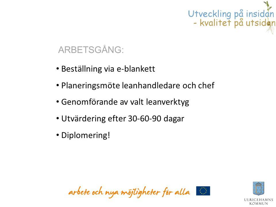 ARBETSGÅNG: Beställning via e-blankett. Planeringsmöte leanhandledare och chef. Genomförande av valt leanverktyg.