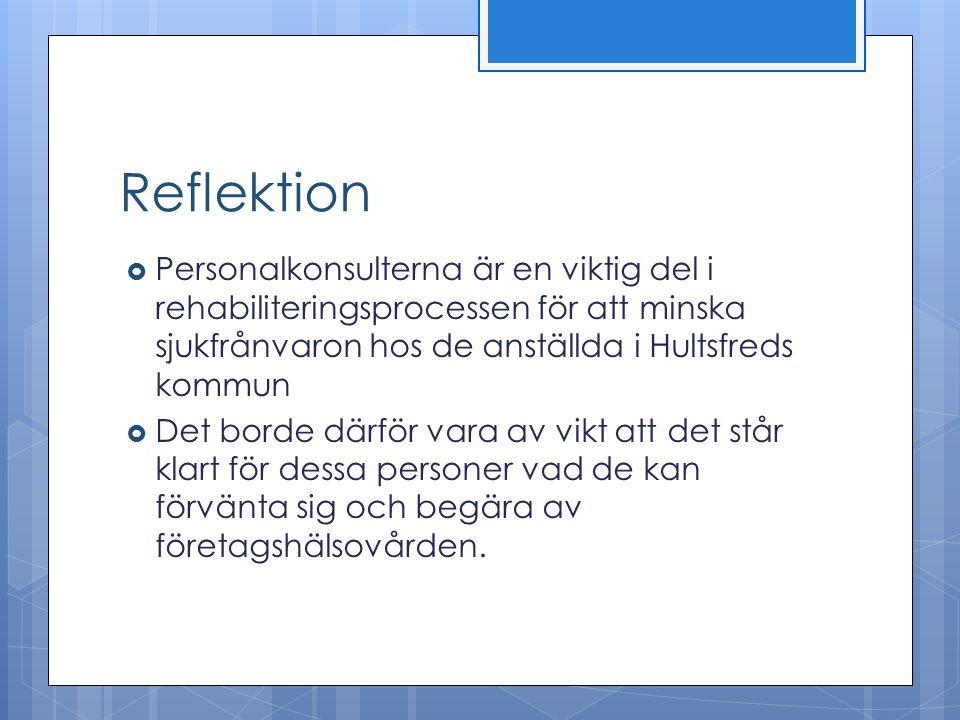 Reflektion Personalkonsulterna är en viktig del i rehabiliteringsprocessen för att minska sjukfrånvaron hos de anställda i Hultsfreds kommun.