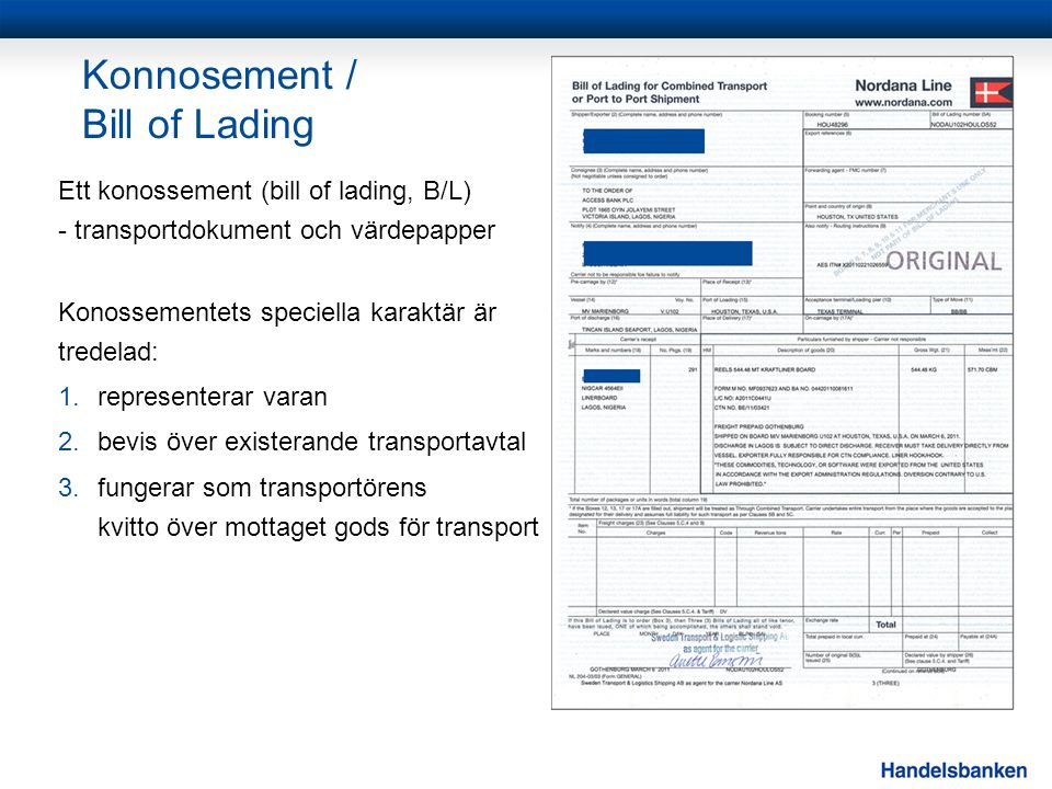 Konnosement / Bill of Lading