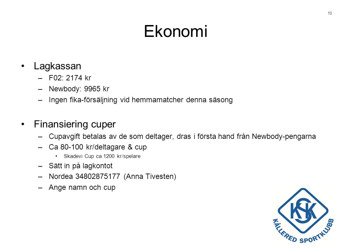Ekonomi Lagkassan Finansiering cuper F02: 2174 kr Newbody: 9965 kr