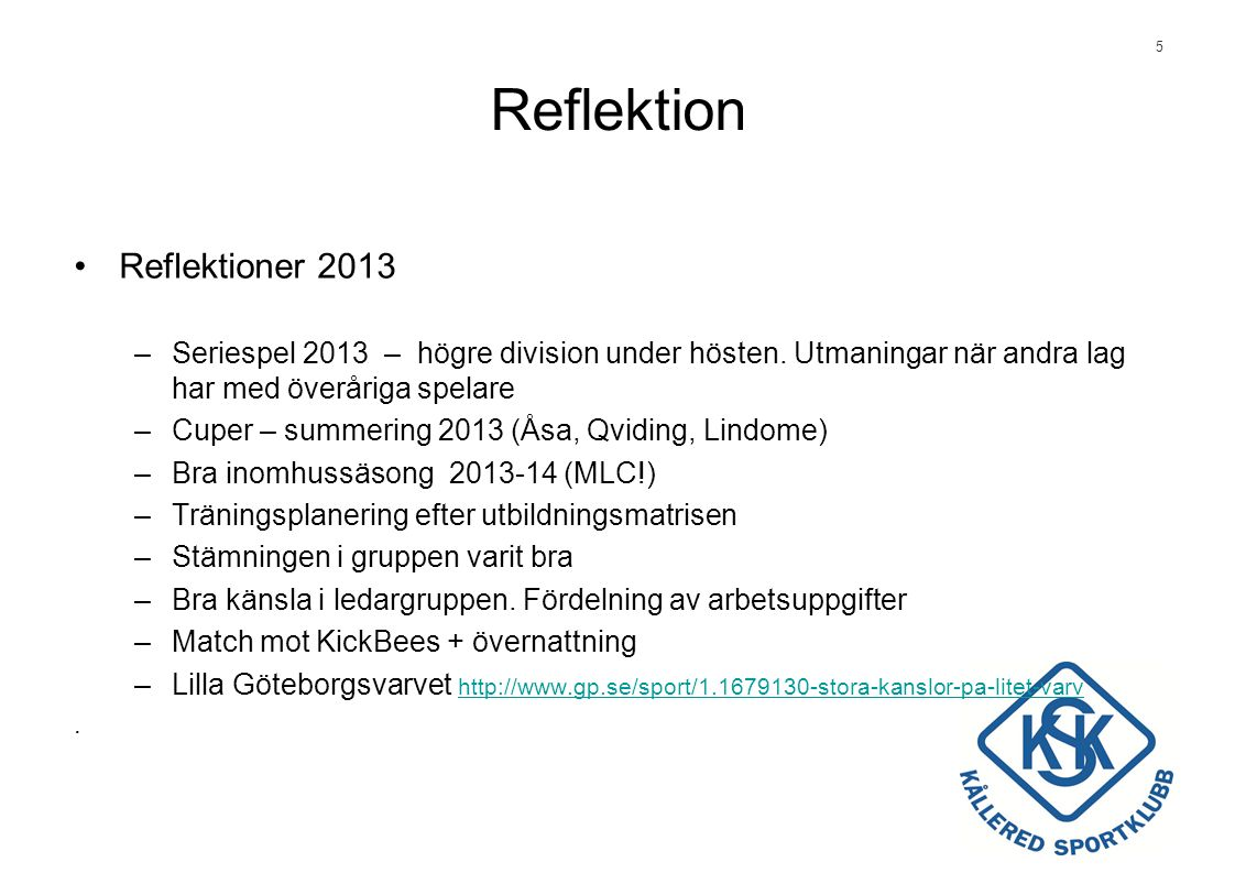 Reflektion Reflektioner 2013