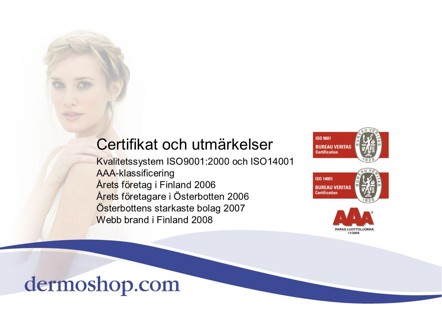 Certifikat och utmärkelser