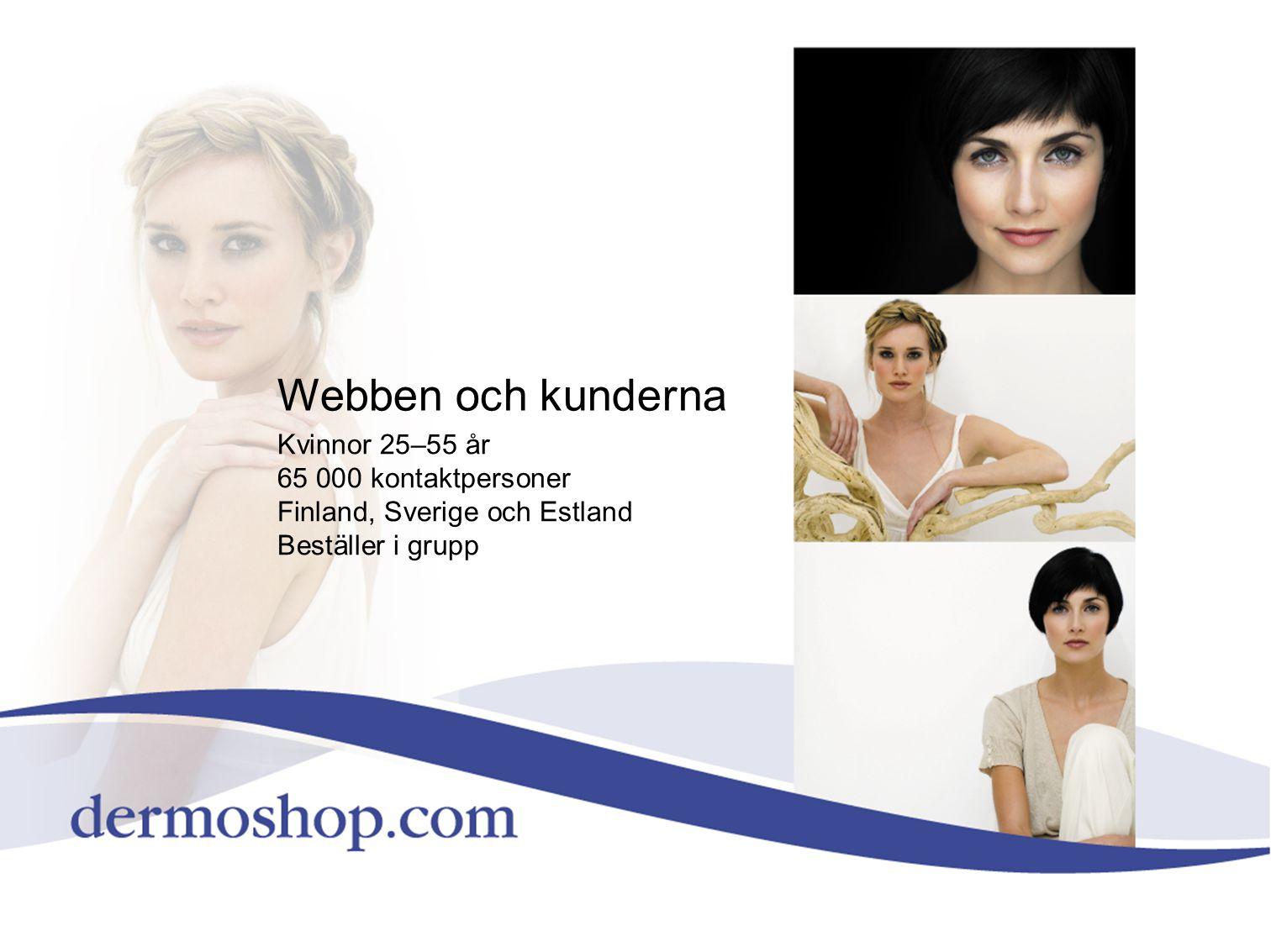 Webben och kunderna Kvinnor 25–55 år 65 000 kontaktpersoner
