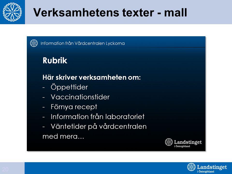 Verksamhetens texter - mall