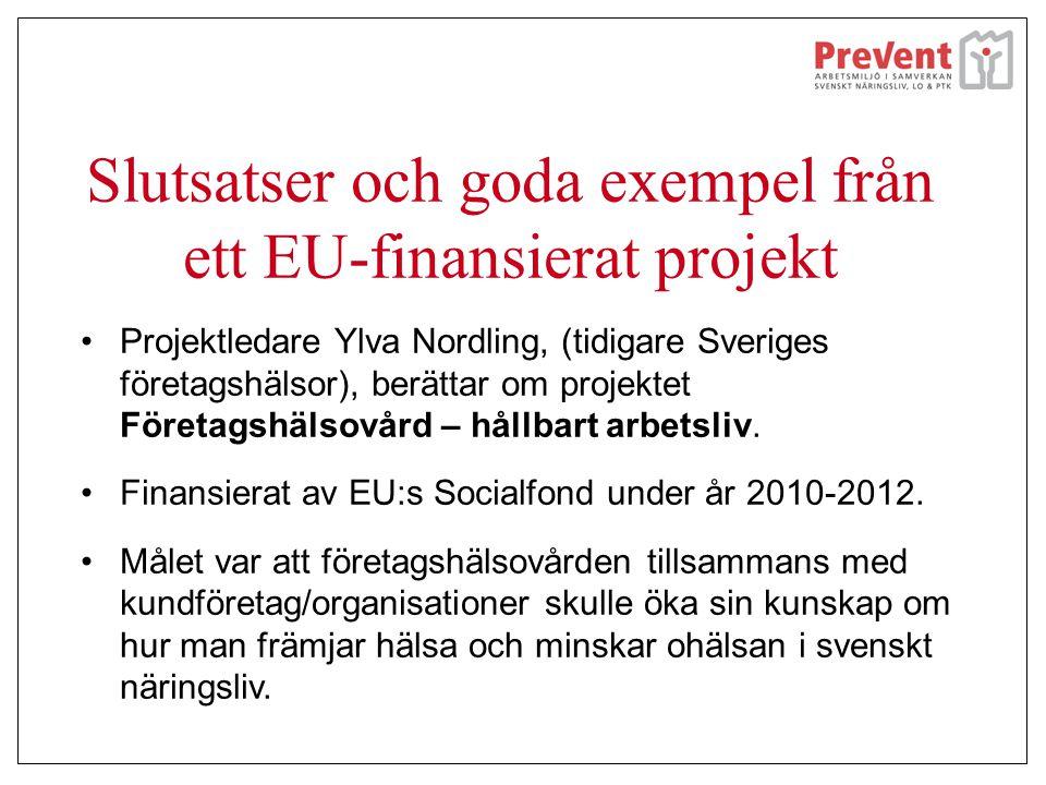 Slutsatser och goda exempel från ett EU-finansierat projekt