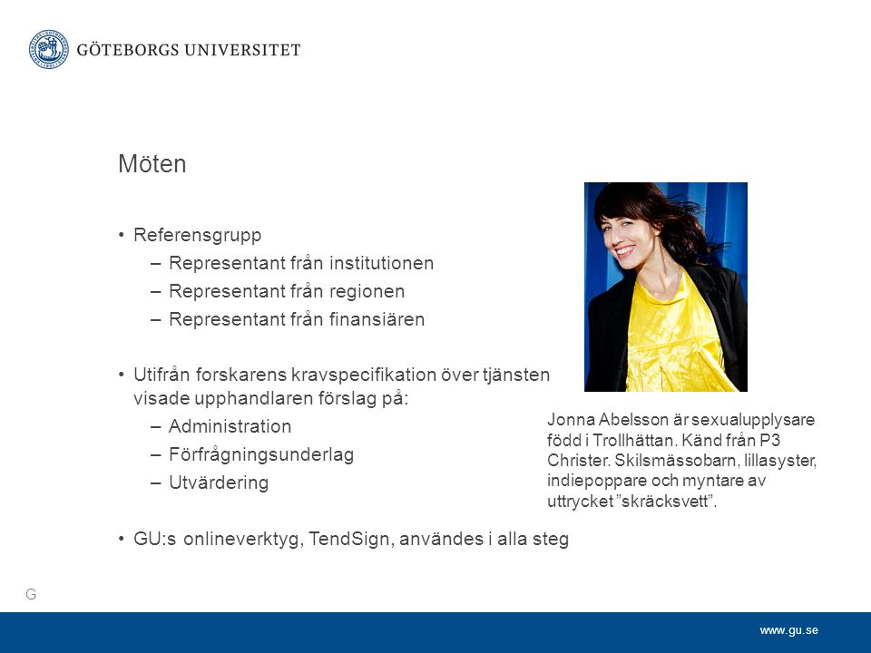 Möten Referensgrupp Representant från institutionen