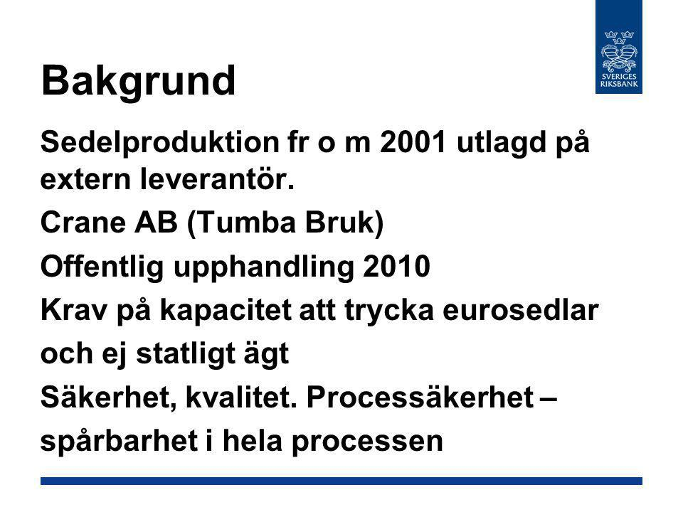 Bakgrund Sedelproduktion fr o m 2001 utlagd på extern leverantör.