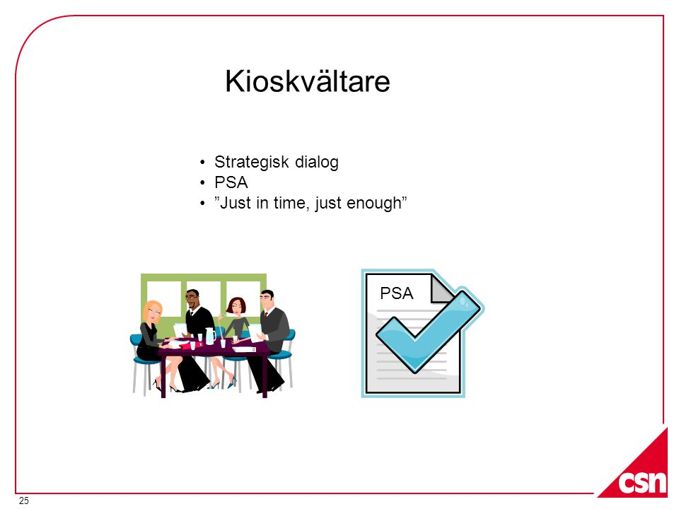 Kioskvältare Strategisk dialog PSA Just in time, just enough PSA
