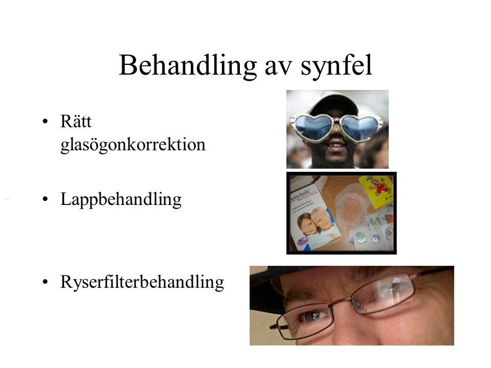 Behandling av synfel Rätt glasögonkorrektion Lappbehandling
