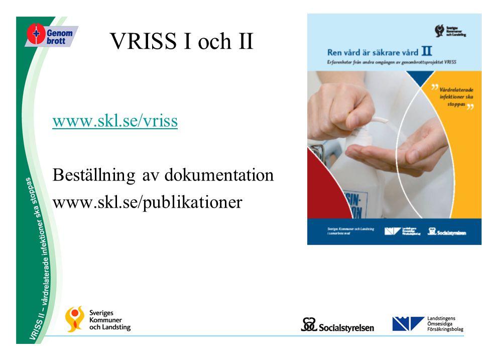 VRISS I och II www.skl.se/vriss Beställning av dokumentation