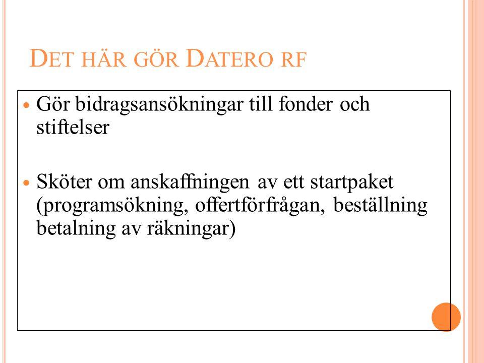 Det här gör Datero rf Gör bidragsansökningar till fonder och stiftelser.