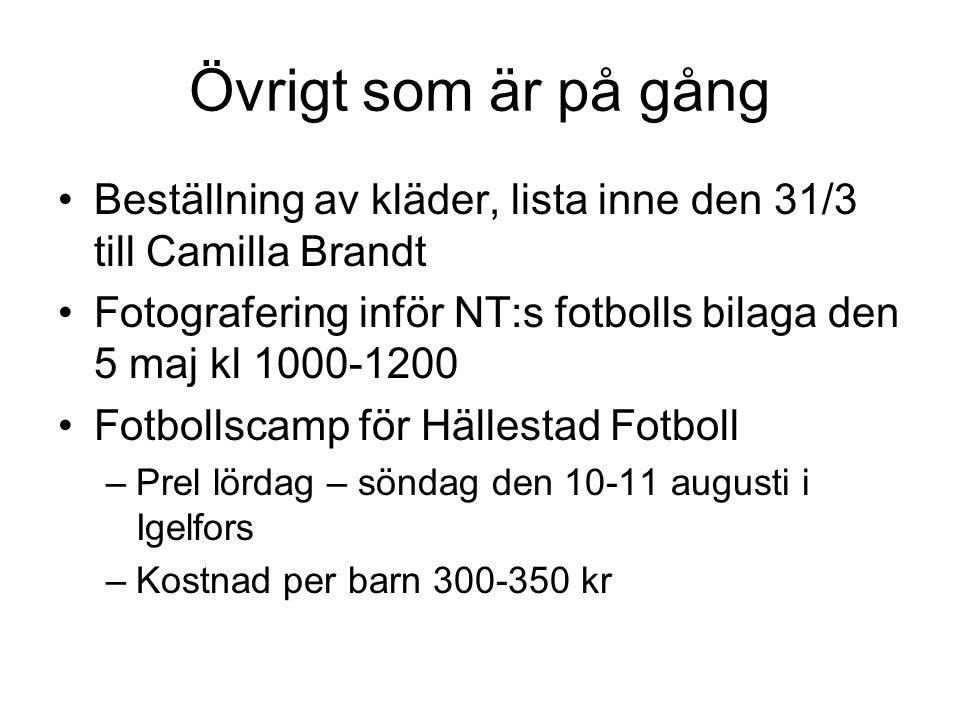Övrigt som är på gång Beställning av kläder, lista inne den 31/3 till Camilla Brandt.