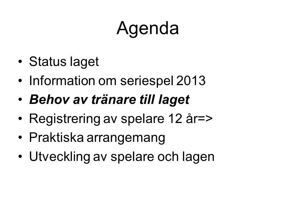 Agenda Status laget Information om seriespel 2013
