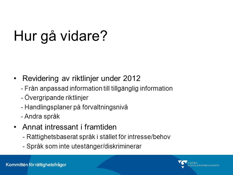 Hur gå vidare Revidering av riktlinjer under 2012