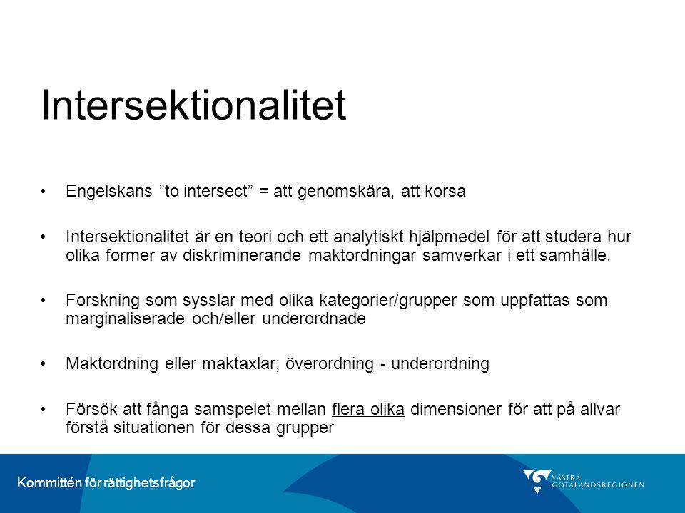 Intersektionalitet Engelskans to intersect = att genomskära, att korsa.