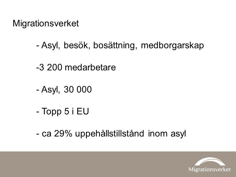 Migrationsverket - Asyl, besök, bosättning, medborgarskap. -3 200 medarbetare. - Asyl, 30 000. - Topp 5 i EU.