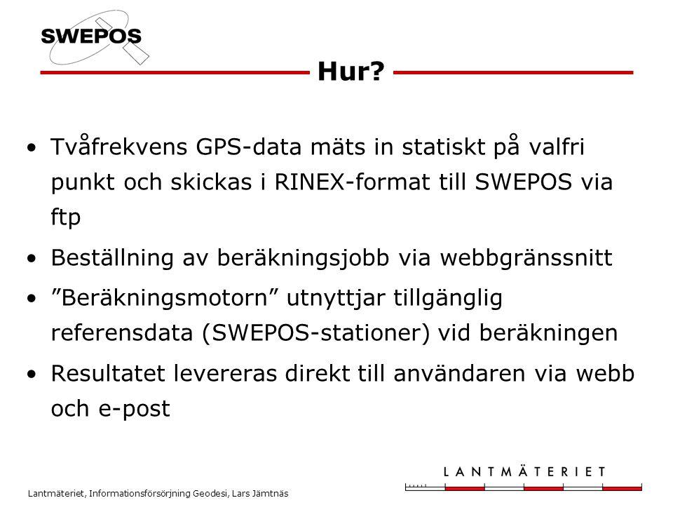 Hur Tvåfrekvens GPS-data mäts in statiskt på valfri punkt och skickas i RINEX-format till SWEPOS via ftp.