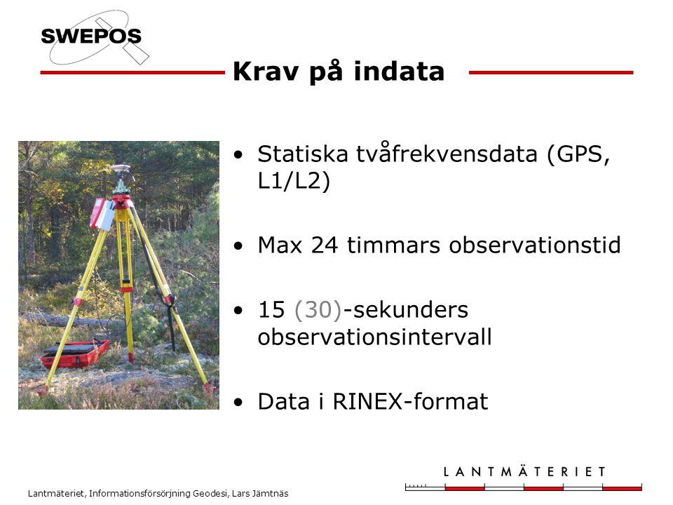 Krav på indata Statiska tvåfrekvensdata (GPS, L1/L2)