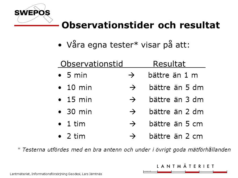 Observationstider och resultat