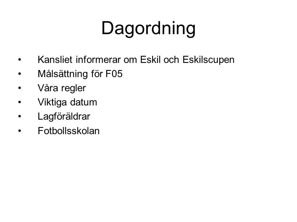 Dagordning Kansliet informerar om Eskil och Eskilscupen