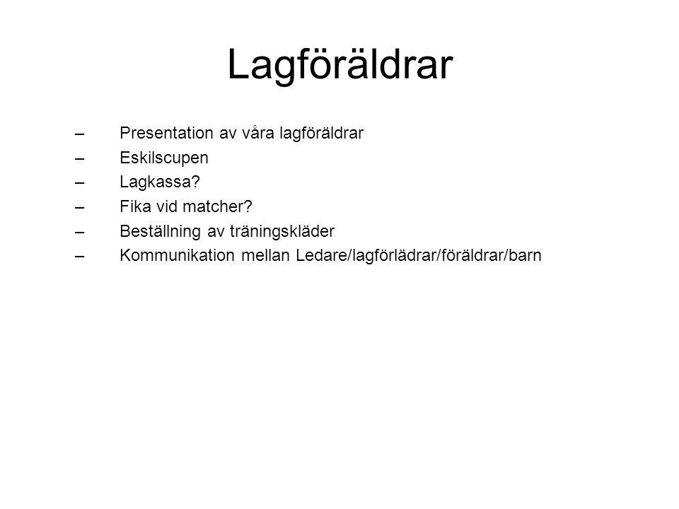 Lagföräldrar Presentation av våra lagföräldrar Eskilscupen Lagkassa