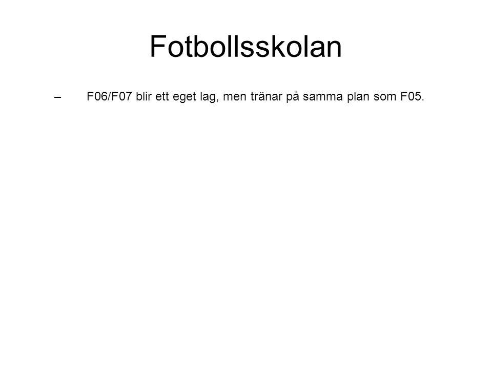 Fotbollsskolan F06/F07 blir ett eget lag, men tränar på samma plan som F05.
