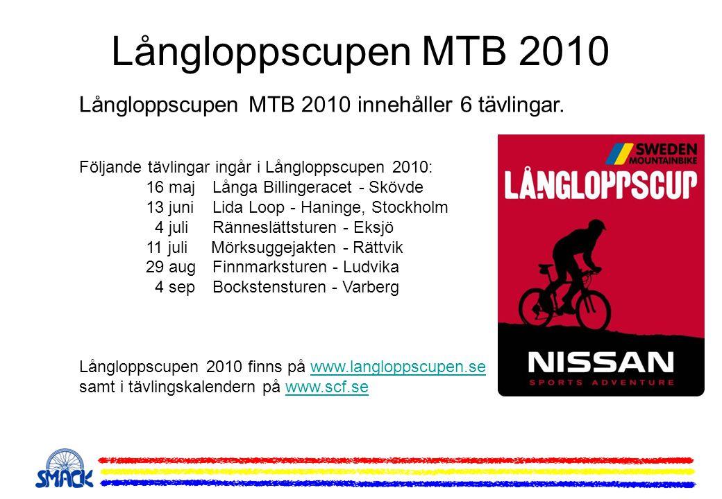 Långloppscupen MTB 2010 Långloppscupen MTB 2010 innehåller 6 tävlingar. Följande tävlingar ingår i Långloppscupen 2010: