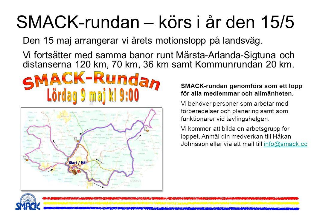 SMACK-rundan – körs i år den 15/5