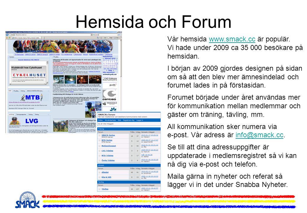 Hemsida och Forum Vår hemsida www.smack.cc är populär. Vi hade under 2009 ca 35 000 besökare på hemsidan.