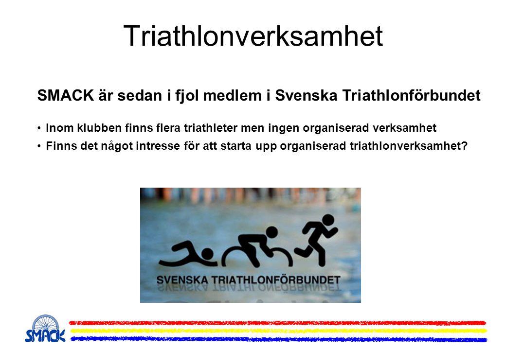 Triathlonverksamhet SMACK är sedan i fjol medlem i Svenska Triathlonförbundet. Inom klubben finns flera triathleter men ingen organiserad verksamhet.