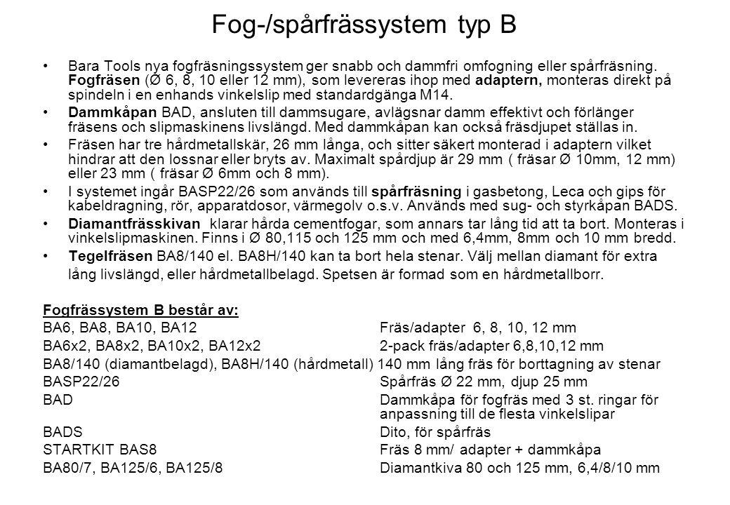 Fog-/spårfrässystem typ B