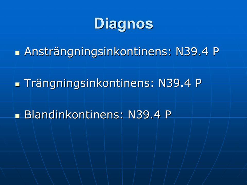 Diagnos Ansträngningsinkontinens: N39.4 P