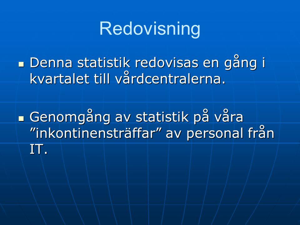 Redovisning Denna statistik redovisas en gång i kvartalet till vårdcentralerna.