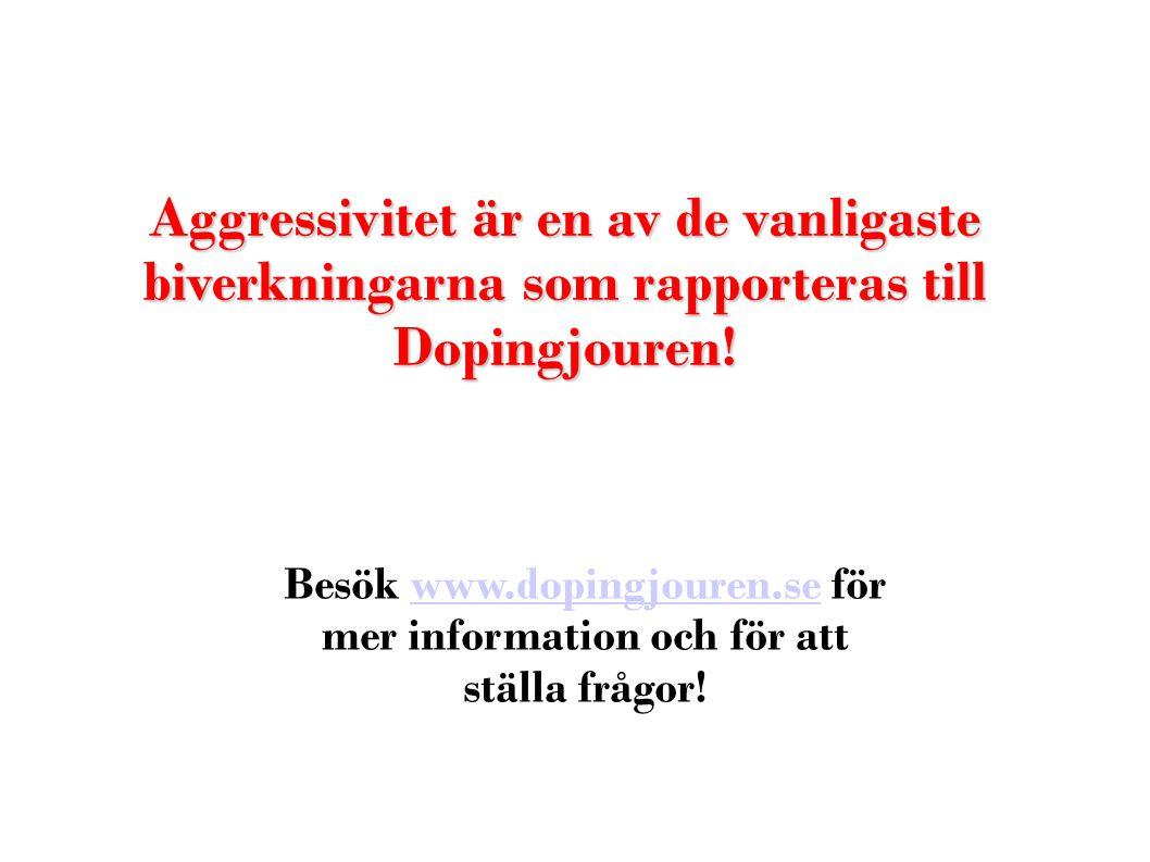 Aggressivitet är en av de vanligaste biverkningarna som rapporteras till Dopingjouren!