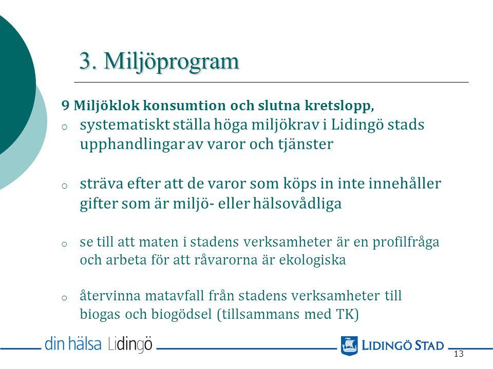 3. Miljöprogram 9 Miljöklok konsumtion och slutna kretslopp, systematiskt ställa höga miljökrav i Lidingö stads upphandlingar av varor och tjänster.