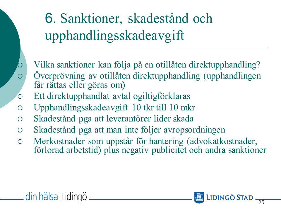 6. Sanktioner, skadestånd och upphandlingsskadeavgift