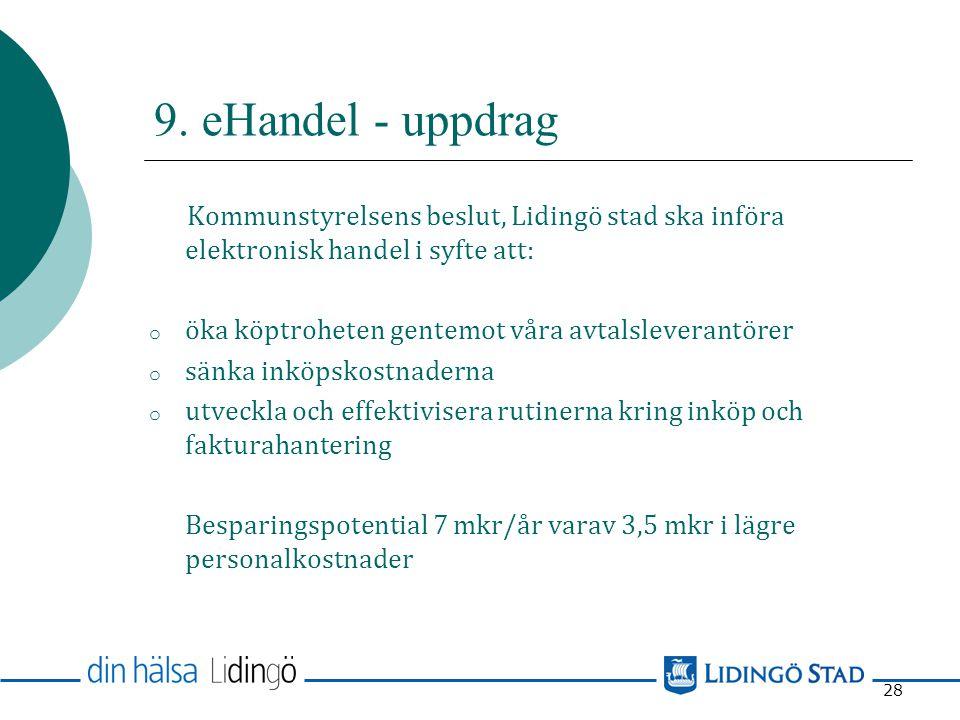 9. eHandel - uppdrag Kommunstyrelsens beslut, Lidingö stad ska införa elektronisk handel i syfte att: