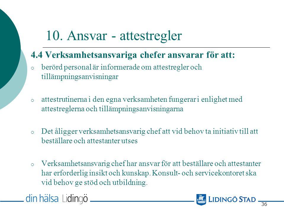 10. Ansvar - attestregler 4.4 Verksamhetsansvariga chefer ansvarar för att: