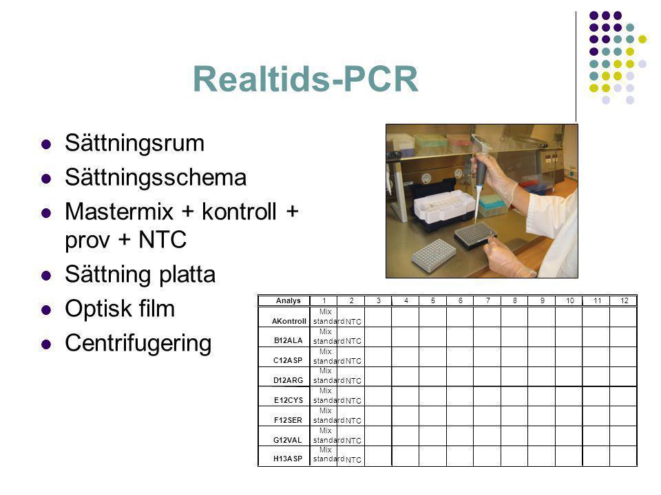 Realtids-PCR Sättningsrum Sättningsschema