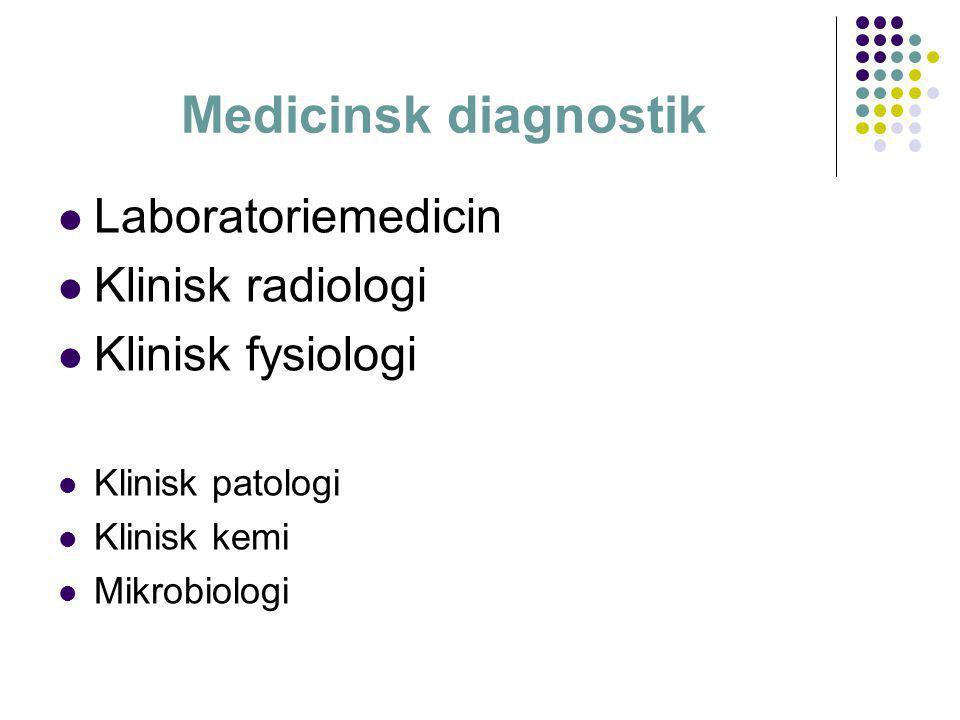 Medicinsk diagnostik Laboratoriemedicin Klinisk radiologi