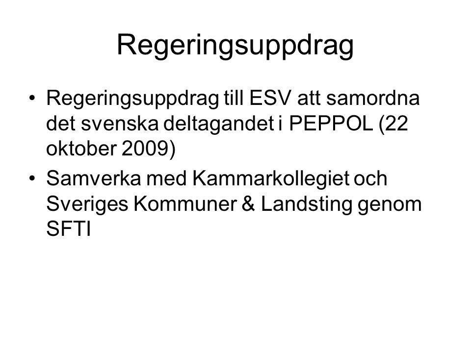 Regeringsuppdrag Regeringsuppdrag till ESV att samordna det svenska deltagandet i PEPPOL (22 oktober 2009)