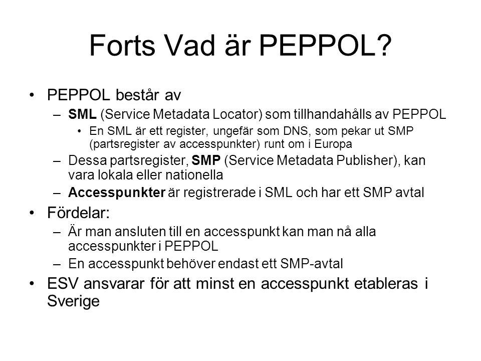 Forts Vad är PEPPOL PEPPOL består av Fördelar: