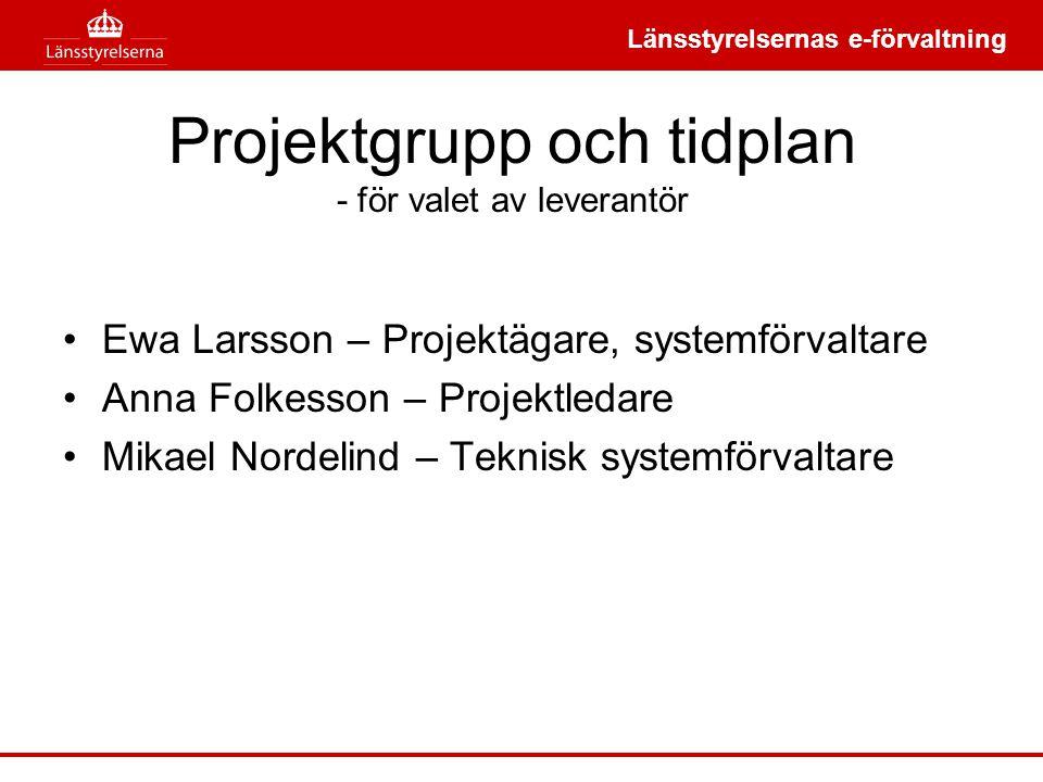 Projektgrupp och tidplan - för valet av leverantör
