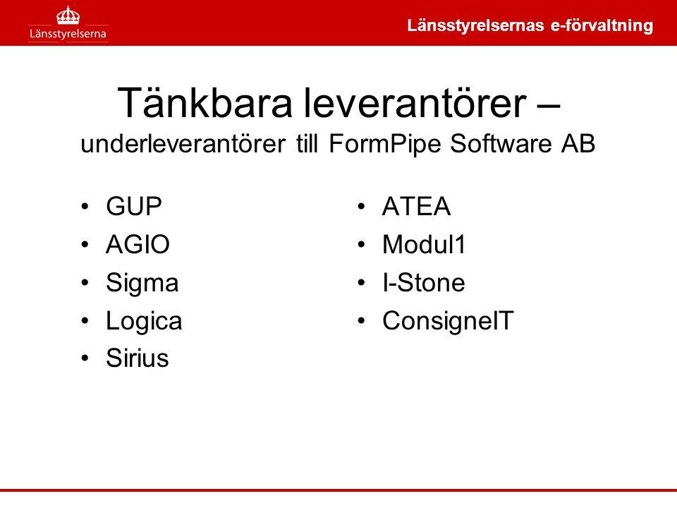 Tänkbara leverantörer – underleverantörer till FormPipe Software AB