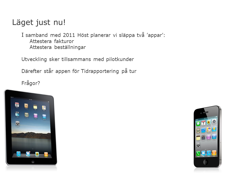 Läget just nu! I samband med 2011 Höst planerar vi släppa två 'appar':