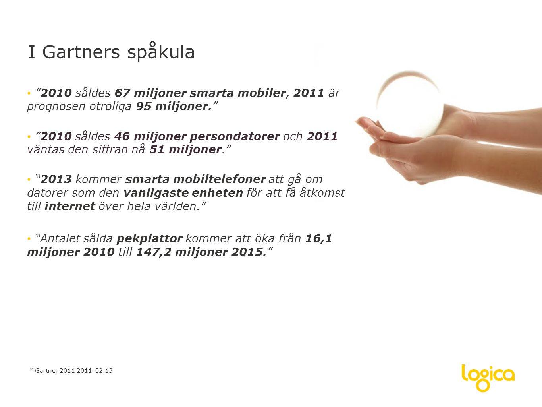 I Gartners spåkula 2010 såldes 67 miljoner smarta mobiler, 2011 är prognosen otroliga 95 miljoner.