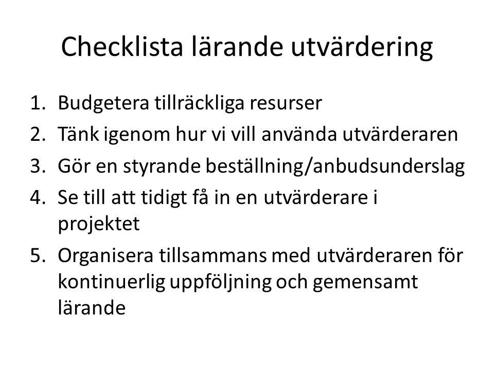Checklista lärande utvärdering
