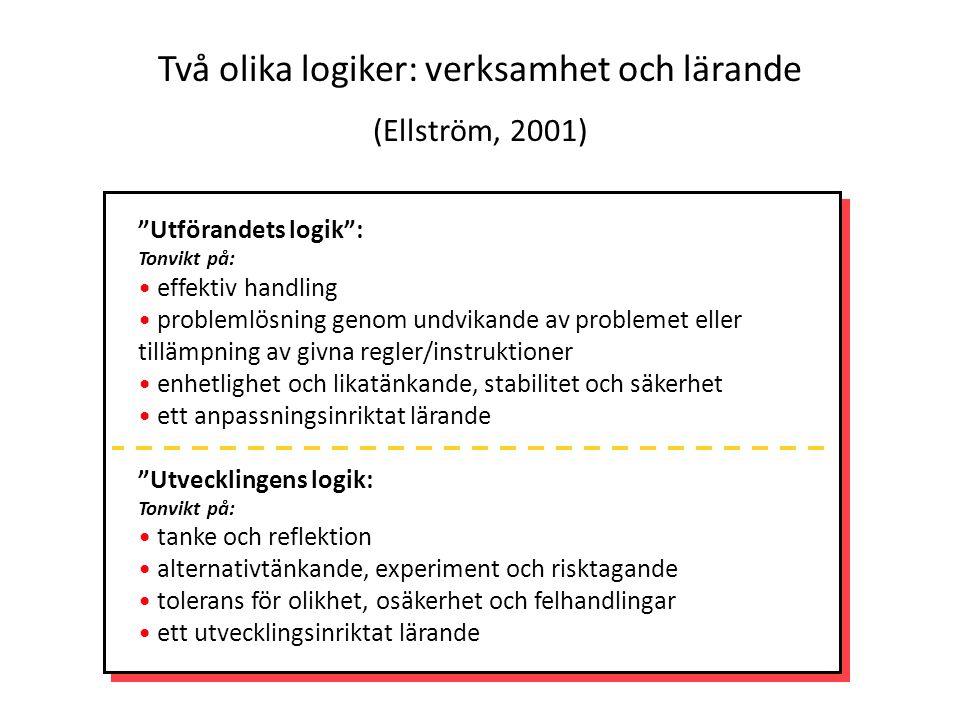 Två olika logiker: verksamhet och lärande (Ellström, 2001)