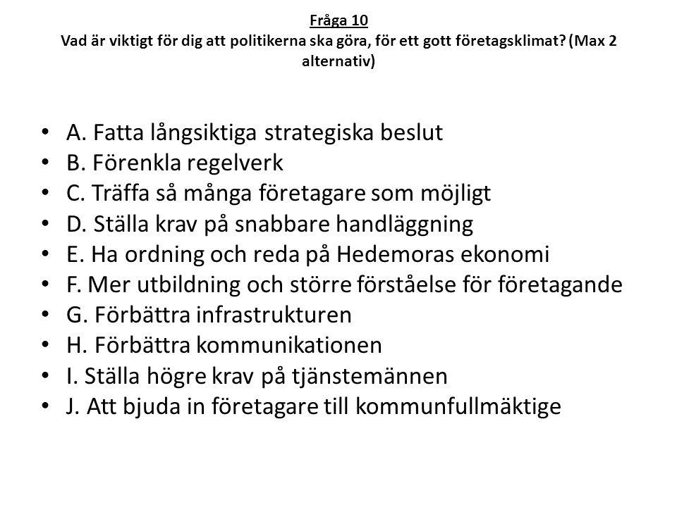 A. Fatta långsiktiga strategiska beslut B. Förenkla regelverk