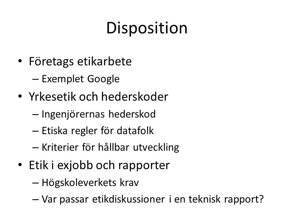 Disposition Företags etikarbete Yrkesetik och hederskoder
